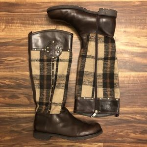 TORY BURCH Colleen Plaid Riding Boot
